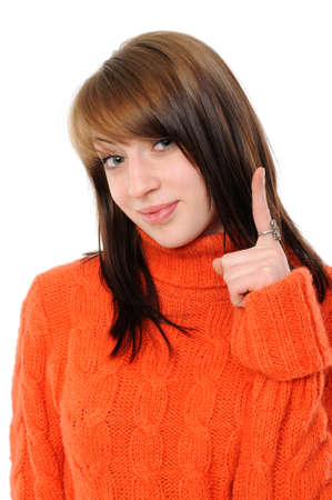 happy young woman specifying top  at copy space on a white background Stock Photo - 8668996