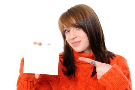 young woman holding empty white board. On a white background Stock Photo - 8668989