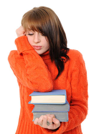 girl with books, reflects,on a white background Stock Photo - 8668994