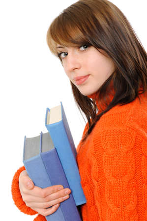 Young girl with long hair and book on a white background Stock Photo - 8668999