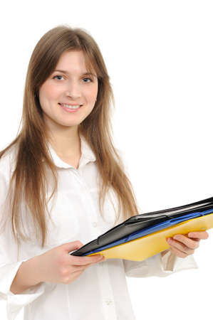 confident woman from a giving folder on a white background Stock Photo