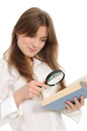 woman looking papers with magnifying glass on a white background