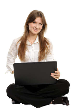 woman with laptop on a white background photo