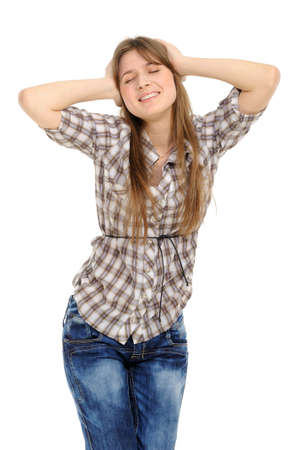 Young woman with  its hands covering his ears not to hear noise. Stock Photo - 9226577