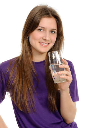Young woman with glass of water isolated against white background photo