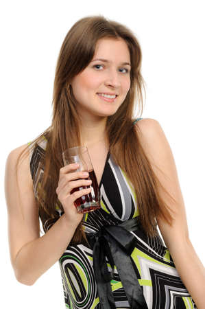 girl with glass of juice isolated against white background Stock Photo - 9449806