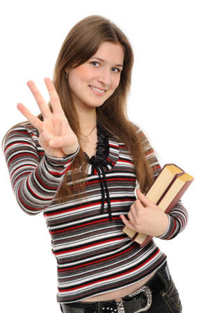 girl with books on white background.