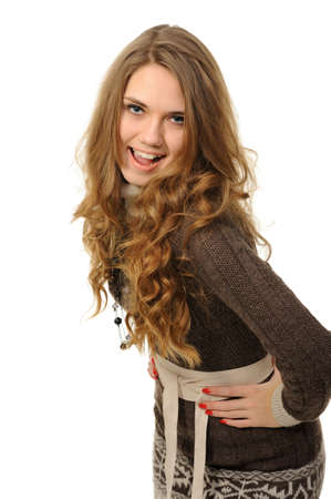 Cheerful girl with long hair in a warm dress Stock Photo - 11878587