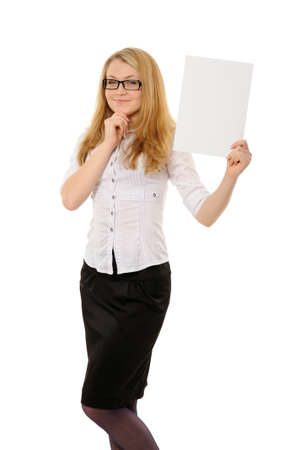 young woman holding empty white board. On a white background photo