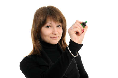 woman drawing something on screen with a pen, isolated over a white background photo