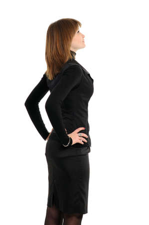 young woman rear view  against white background Stock Photo - 12044763
