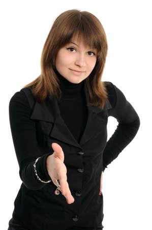 woman handshake isolated on white background photo