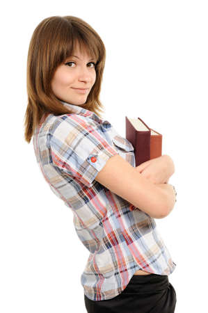 Young girl with  book on a white background photo