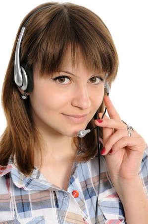 Young female customer service representative in headset photo