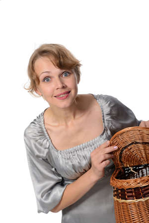 Portrait of a attractive woman holding a basket