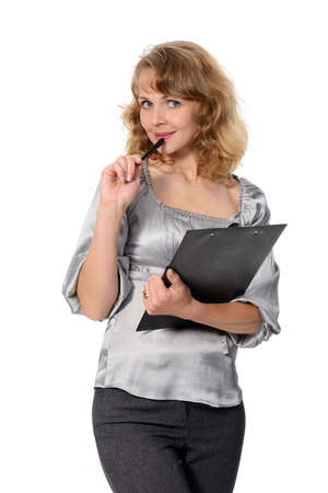 Beautiful confident woman with a folder on a white background  Stock Photo