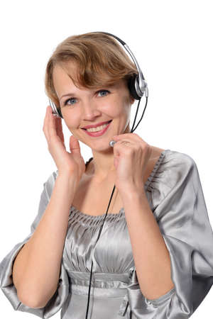 woman customer service representative on a white background