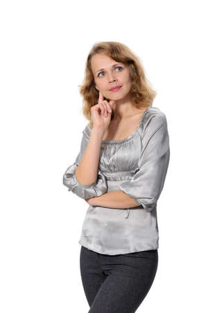 Portrait of a attractive business woman over white background  Stock Photo