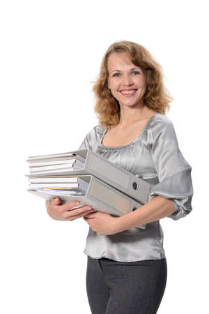 Beautiful confident woman with a нeavy folders on a white background