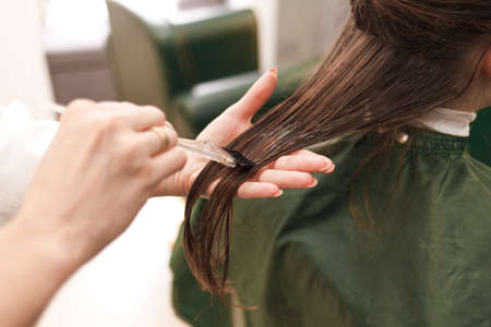 Hairdresser applies a hair mask to the woman in the beauty salon. Botox and keratin hair straightening procedure