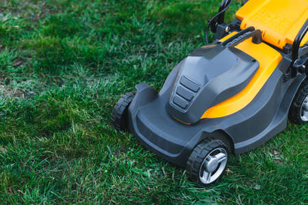 Electric lawn mower on a lawn at the garden. gardening concept Foto de archivo