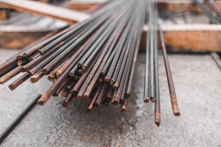 Lots of rebar at the construction site. Concrete reinforcement materials