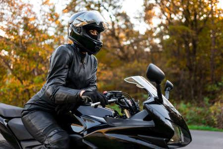 Young girl on a sports motorcycle Stock Photo