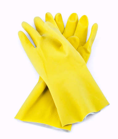 rubber gloves isolated on white photo