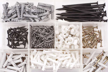 Screws, nails, dowels in the case Stock Photo - 9194911
