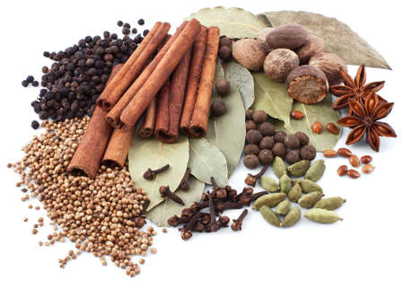 Various spices isolated on white background photo