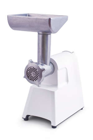 Modern electric meat grinder isolated over white background photo