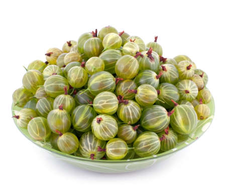 pulpy: Bowl full of gooseberry isolated on white background Stock Photo