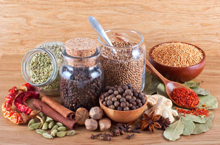 fennel seed: Still life of different spices on wooden background