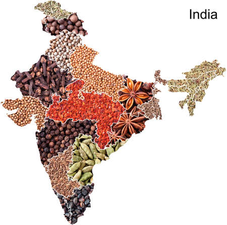 Political map of India with spices and herbs on white background Stock Photo
