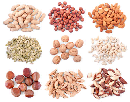 different nuts isolated on white background photo