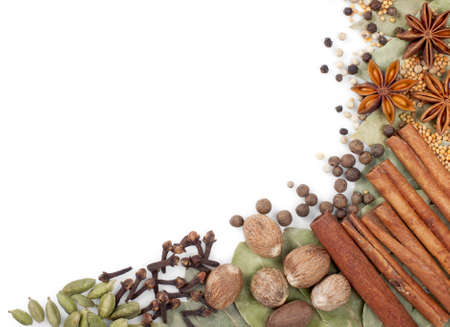clove of clove: Background of different spices over white