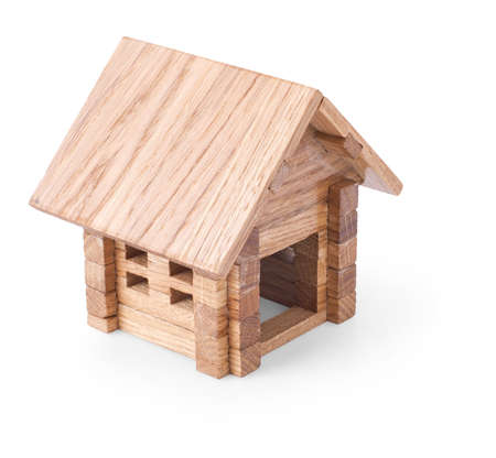 log: toy wooden house isolated on white background