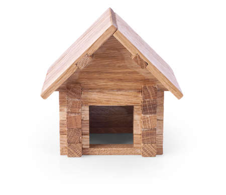 toy house: toy wooden house isolated on white background
