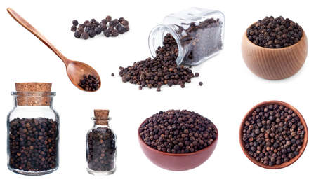 Black peppercorn set on white background