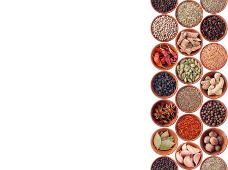Spices seamless background on white photo