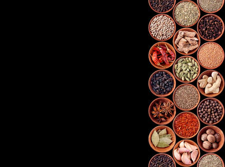 seasonings: Spices seamless background on black