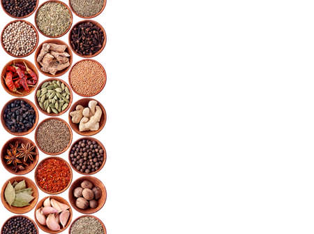 Spices seamless background on white Stock Photo - 11981982
