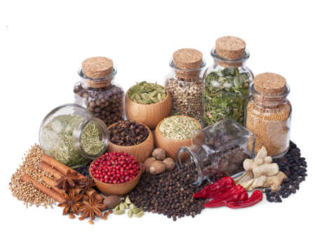 still life of different spices and herbs isolated on white background Stock Photo