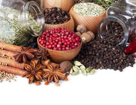 Background of different spices on white Stock Photo