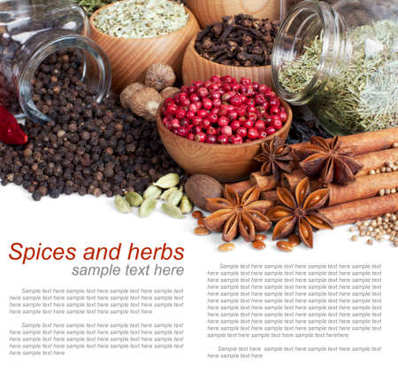 spices: Background of different spices with sample text on white