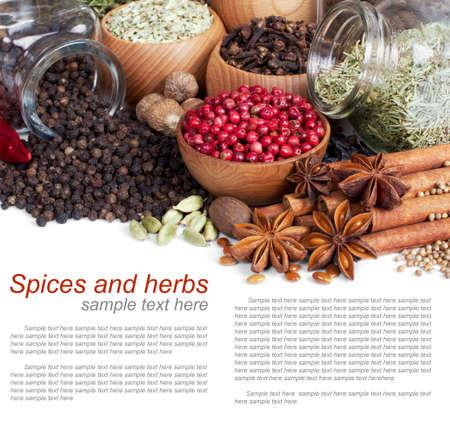 finocchio: Sfondo di spezie diverse, con testo di esempio su bianco