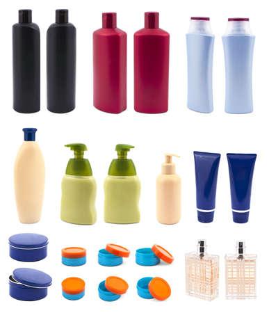 shampoo bottles: Set with cosmetic bottles isolated on white background