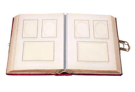 old vintage photo album with six pictures isolated on white photo
