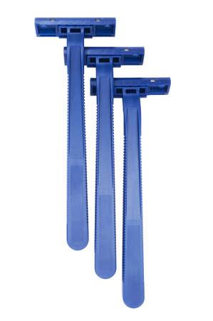 blue disposable razors isolated on white background Stock Photo - 12783161