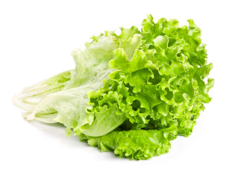 Fresh green lettuce leaves isolated on white background photo